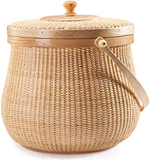 KHFJ Panier de Rangement Collection Portable Sundreis des ménages Panier avec la Couverture de Haute qualité en rotin pour...