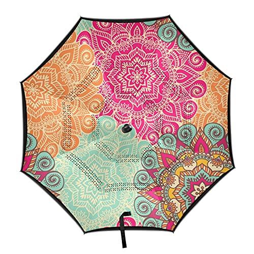 xigua Paraguas automático de mandala a prueba de viento, protección UV, paraguas automático con rayas reflectantes para hombres y mujeres