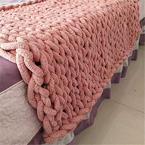 Manta gruesa de punto de lana gruesa manta de punto manta de punto manta manta de punto manta decoración del hogar, regalo de color rosa oscuro, 80 x 80 cm