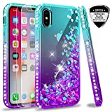 LeYi iPhone X Case, iPhone Xs Case with Tempered Glass Screen Protector [2 Pack] for Girls Women, Glitter Liquid Cute Clear TPU Phone Case for Apple iPhone X/iPhone Xs/iPhone 10 ZX Teal/Purple