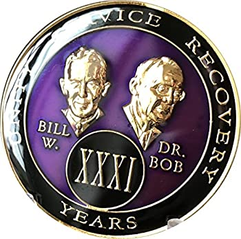 31 year AA Medallion Purple Tri-Plate Founders Bill & Bob Chip XXXI