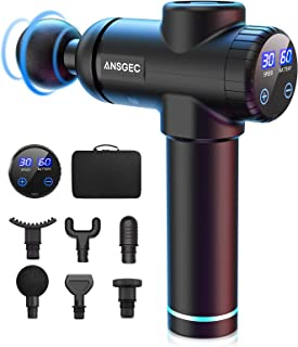 Pistolet de Massage, ANSGEC Appareil Massage Masseur avec 30 Niveaux Réglables, 6 Têtes de Massage et Écran LCD, Ultra Sil...