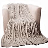 Battilo Cable Knit Chenille Throw Blanket for Sofa and Couch, Lightweight, Soft & Cozy Knit Throws - Light Grey, 51'x67'