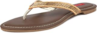 SOLES Women Espadrille Rose Gold Party Thong Slip-On Flats