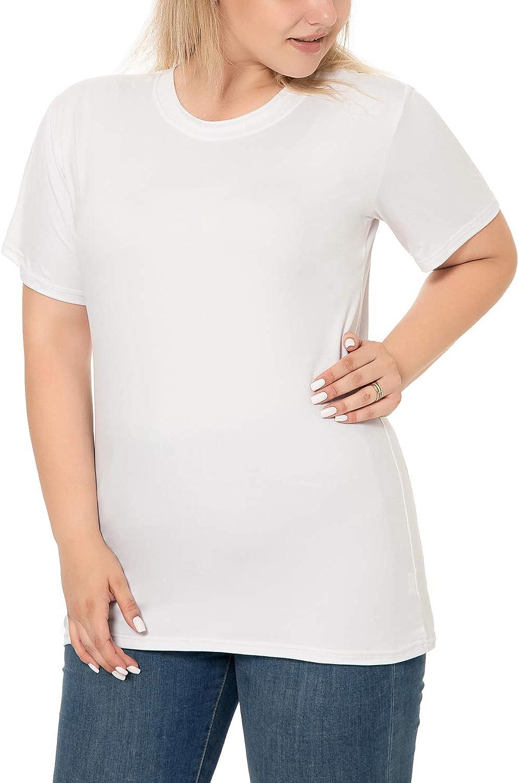 Romastory Women's Plus Size T Shirts Short Sleeve Casual O-Neck Tops Tee Shirts