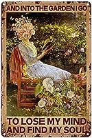 レトロな楽しい金属錫サイン看板8x 12インチ(20 * 30 cm)花の壁アールデコサインポスター