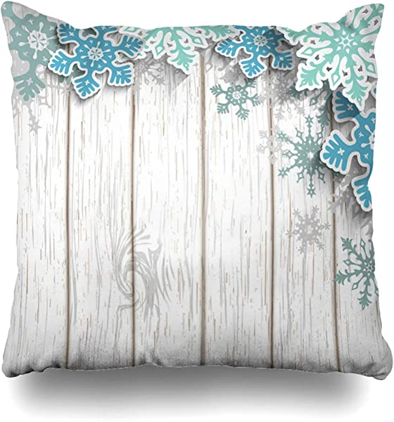 Ahawoso Throw Pillow Cover Xmas Abstract Blue Snowflakes Effect On White Long Wooden Winter Christmas Corner Holidays Gray Zippered Pillowcase Square Size 18 X 18 Inches Home Decor Cushion Case