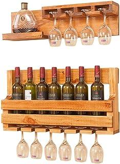 Wan Support Mural pour Porte-Bouteilles de vin en Bois de pin Massif Support à vin Suspendu à Une étagère en Verre pour vi...