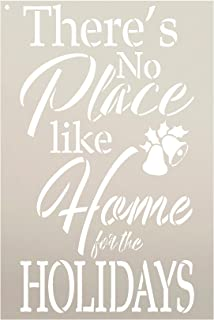 No Place Like Home Holiday Stencil by StudioR12 | Cursive Script Bell Bow Reusable Mylar Template Paint Wood Sign | Craft Vintage Christmas Home Decor | Rustic DIY Country Farmhouse Gift Select Size