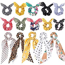 cheap 15 elastic scarves, hair ties with ribbons, hair ties with ribbons, chiffon flower ribbons …