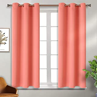 BGment Blackout Curtains for Living Room - Grommet Thermal Insulated Room Darkening Curtains for Bedroom, Set of 2 Panels (38 x 45 Inch, Coral)