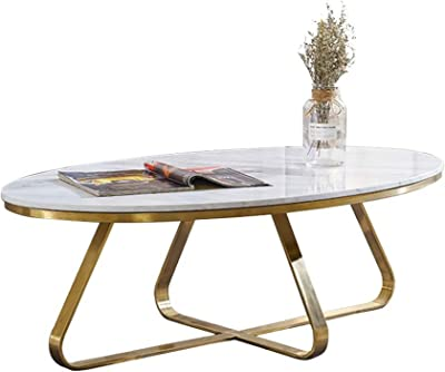 Modern Coffee Table for Living Room Furniture Oval Marble Side Table Occasional Stand Tea Table for Living Room Home and Office Golden Frame