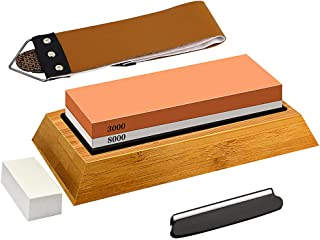 OneBom Whetstone Knife Sharpening Stone, 3000/8000 Grit Double-Sided Premium Professional Waterstone Kit with Non-Slip Bamboo Base, Leather Strop, Angle Guide for Kitchen,Hunting,Gift