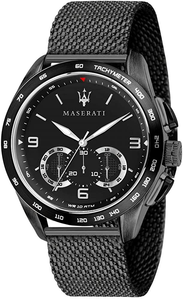 Maserati orologio da uomo, collezione traguardo cronografo, in acciaio e pvd nero 8033288837374