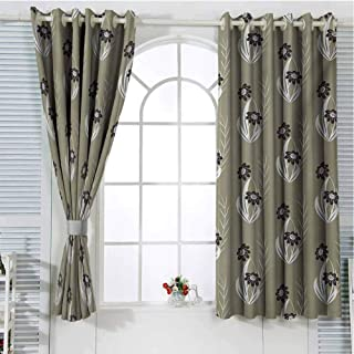 Floral Patio Door Curtains for Bedroom Artistic Flowers Tiny Branches Leaves Dotted Blooms Pattern Garden Theme Thermal Insulated Noise Reducing W107 x L96 Inch Khaki Dark Brown Cream