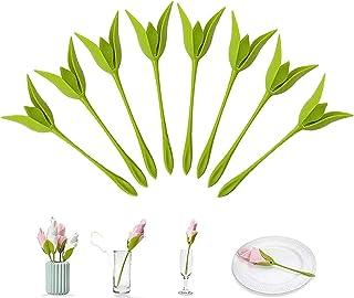DELFINO Napkin Holders Design Bloom Napkin Holders for Tables, Green Stemmed Plastic Twist Flower Buds Serviette Holders A...
