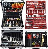 Famex Werkzeug FAMEX 414-20 Alu Werkzeugkoffer gefüllt mit TOP Werkzeug und 174-tlg. Steckschlüsselsatz