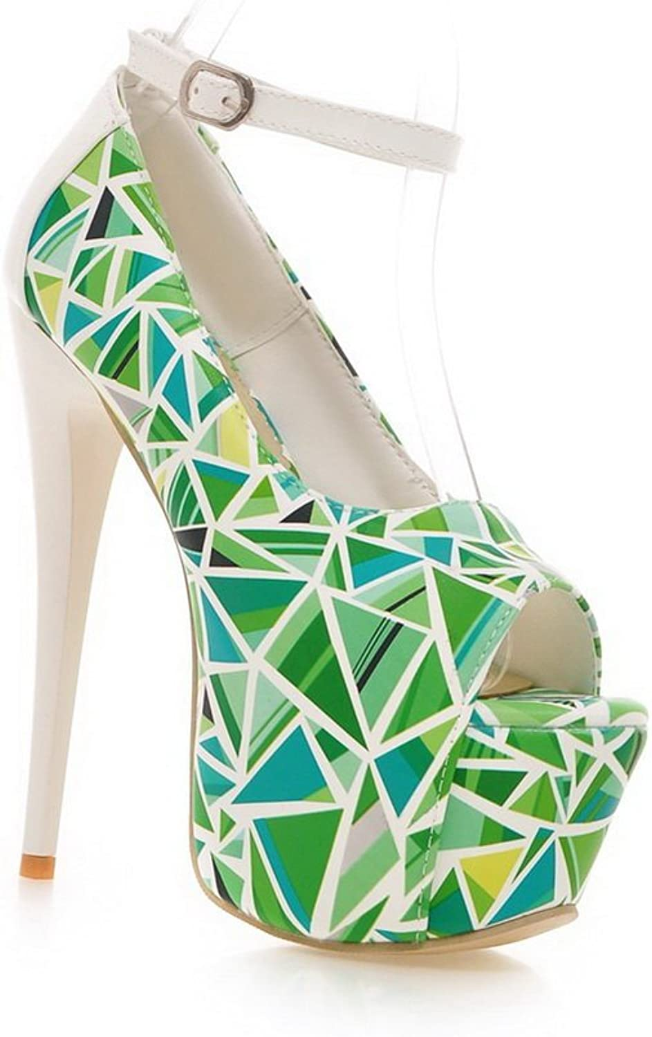1TO9 Ladies Assorted color High-Heels Green Soft Material Sandals - 7 B(M) US