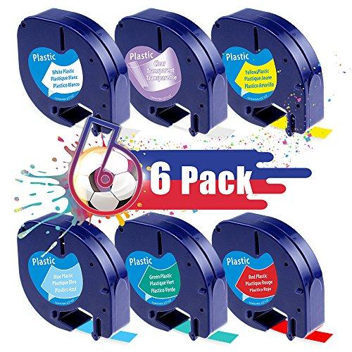 Oozmas kompatible Etikettenband als Ersatz für Dymo LetraTag Plastic White Band 12mm x 4m, für LT-100H LT-100T XR QX50, Kunststoff Etiketten 16951 91221 91222 91223 91224 91225, 6er-Pack