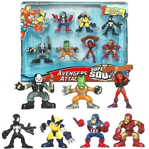 Hasbro Marvel Superhero Squad Mini Figura 7pack Avengers Attack Crossbones, Wolverine, Iron Man, Capitn Amrica, Lder, Disfraz Negro Spiderman, Shehulk rojo