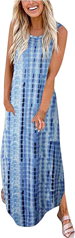 Women Floral Print Dress Tie-Dye O-Neck Sling Strap Maxi Summer