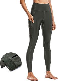 CRZ YOGA Femme Taille Haute Pantalon de Sport Fitness avec Poche Int/érieure-53cm