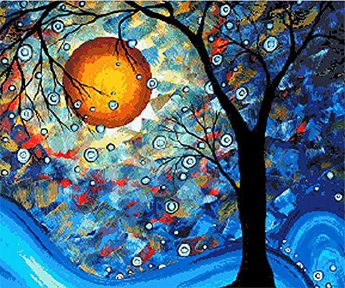 DIY Malen nach Zahlen für Erwachsene Junior Kinder, ABEUTY Traumbaum Van Gogh Moon Night 40x50cm Weihnachten Valentinstag Geschenk