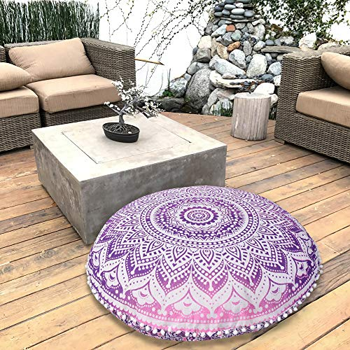 Marubhumi Pink Purple Ombre Indian Hippie Mandala Floor Pillow Cover - Cushion Cover - Pouf Cover Round Bohemian Yoga Decor Floor Cushion Case- 32 Inch