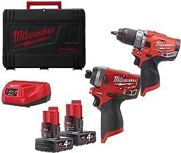 Powerpack M12 FPP2A-402X Milwaukee - 1 taladro de impacto M12 FPD - 1 destornillador de impacto M12 FID - 2 baterías 12V Li-Ion 4.0Ah - 1 cargador - 4933459808
