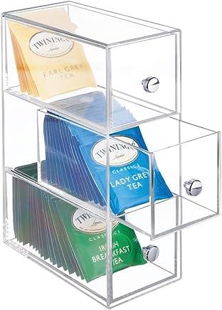 mDesign Organizer cucina con 3 cassetti – Ideale come scatola porta the per riordinare diverse bustine – Scatola con cassetti per zucchero, dolcificante, sale ed altro - trasparente
