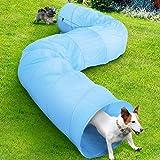 bakaji tunnel gioco addestramento cani gatti 500x60cm in tessuto giocattolo animali con borsa custodia e picchetti di fissaggio (azzurro)