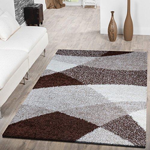 Moderna alfombra Shaggy Vigo con estampado en marrón, beige y crema, polipropileno, marrón, 140 x 200 cm