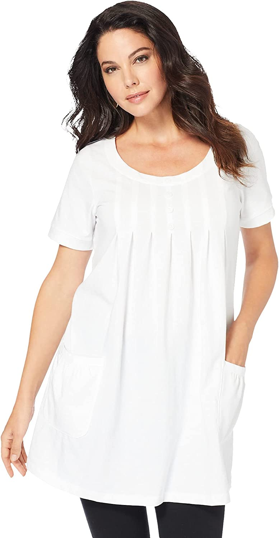 Roaman's Women's Plus Size Two-Pocket Soft Knit Tunic Long T-Shirt