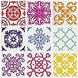 Mandala Stencil, modello di piastrelle Set di 9 riutilizzabili Mandala che punteggia la pittura Stencil Art Pittura Stencil Stencil Strumento per pareti Art (6 x 6 pollici)