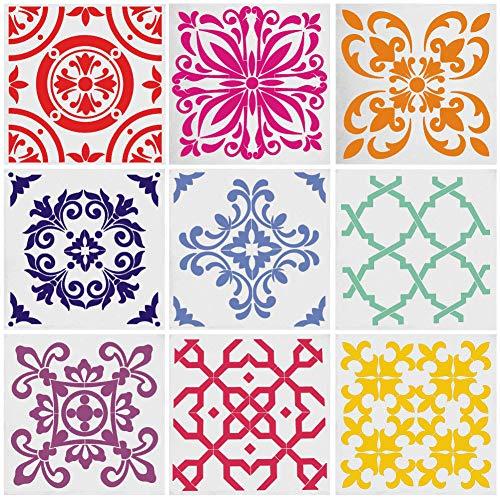 Mandala Stencils - Juego de 9 plantillas reutilizables para pintar con puntos de Mandala, herramienta para aerógrafo, baldosas de muebles, arte de paredes (6 x 6 pulgadas)