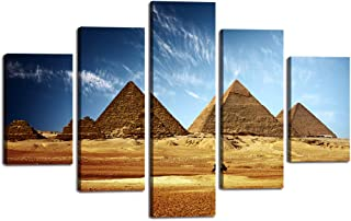 5 Pieces Egypt Pyramid Canvas Wall Art Egyptian Pyramids Painting Pictures Egyptian Decor Modern Desert Posters Prints Artwork Decor for Living Room Home House Wooden Framed Ready to Hang(60''Wx40''H)