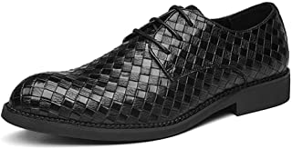 Xiang Ye Fashion Oxfords for Men Work Formal Shoes Lace up Round Toe Microfiber Leather Lattice Texture Embossed Non-Slip Low Heel (Color : Black, Size : 6 UK)