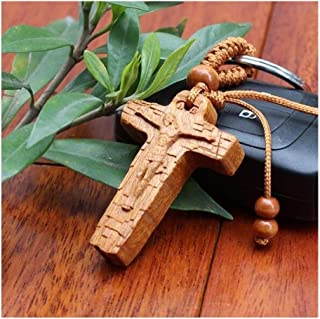 Pendentif crucifix J/ésus Croix latine Pendentif Bois religieux catholique Cadeau religieux Bible Lords pri/ère pour homme femme