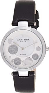 Akribos XXIV AK1069 Ornate Womens Casual Watch - Mother of Pearl Center Dial - Quartz Movement - Suede Leather Strap