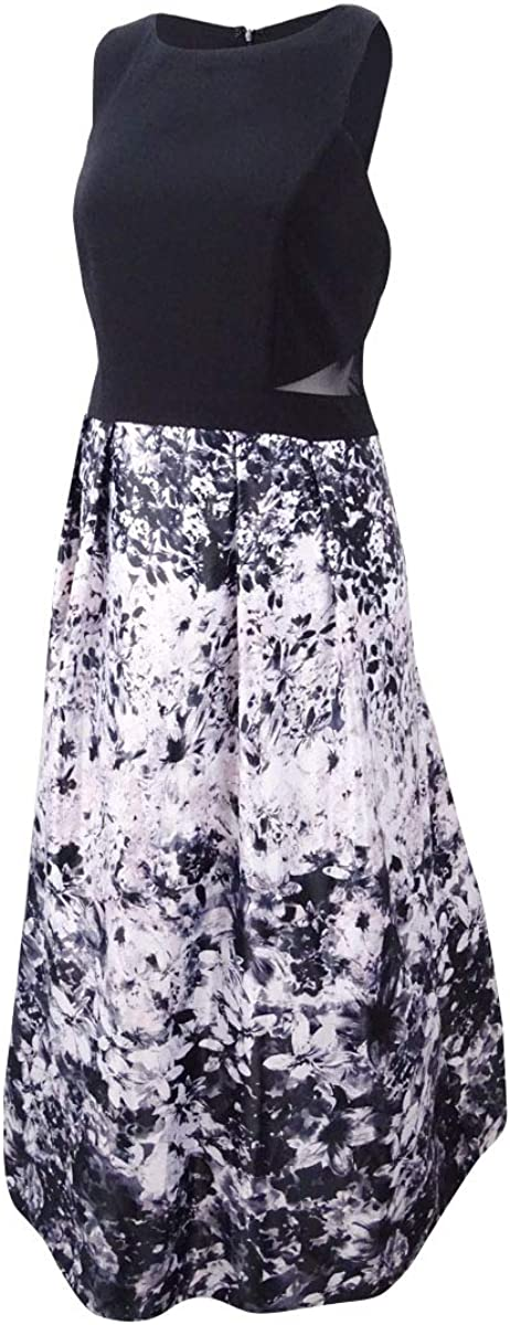 Xscape Women's Plus Size Solid & Floral-Print Gown (20W, Black/Ivory)