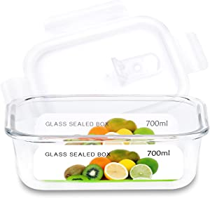 23Oz Glass Containers with Lids Airtight Lunch Containers, Glass Meal Prep Containers Leak Proof Glass Food Containers, Food Prep Storage Containers Glass, Microwave, Oven, Dishwasher Safe