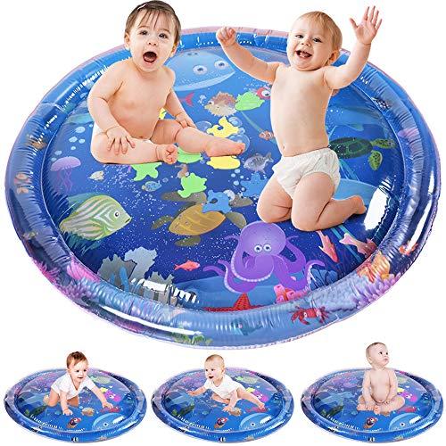 GOLDGE Wassermatte Baby Wasserspiel Matte 98x98cm Baby Spielzeug Aufblasbare Aktivität Baby Wassermatte ist ein lustiges Spielzeug für die frühe Babyentwicklung (98x98cm)
