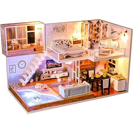 Cutebee Casa De Muñecas En Miniatura Con Muebles Kit De Casa De Muñecas Diy A Prueba De Polvo Y Movimiento De Música Escala 1 24 Idea De Habitación Creativa Toys