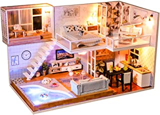 CUTEBEE Dollhouse Miniature with Furniture, DIY Dollhouse Kit Plus Dust Proof and Music Movement, 1:24 Scale Creative Room Idea