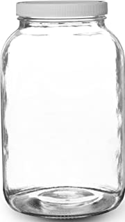 Pakkon Wide Mouth Glass Mason Jar with PlasticLid/Ferment & Store Kombucha Tea or Kefir/Use for Canning, Storing, Pickling & Preserving Dishwasher Safe, Airtight Liner Seal, 1 gallon