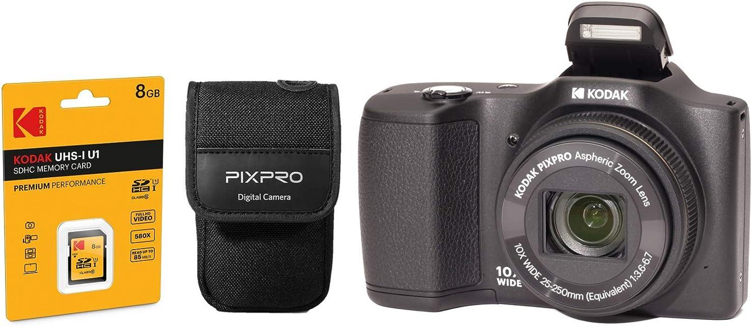 Kodak Pixpro FZ102 - Cámara de Fotos Digital compacta (165 megapíxeles Incluye Funda y Tarjeta SD) Color Negro