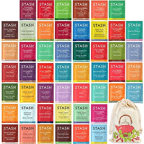 Stash Tea Assortment - Caffeinated and Caffeine Free Gift Collection - Tea Set for Women and Men - Individually Wrapped Packets - 50 Count, 50 Different Flavors - Handmade 100% Cotton Pouch Included
