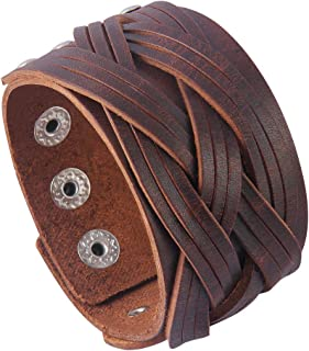 Jenia Genuine Leather Cuff Bracelet Punk Braided...