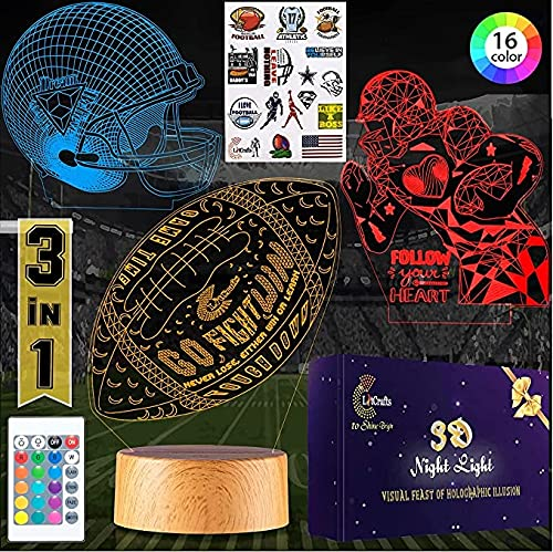 LitCrafts 3D Night Light, 3 Pattern Optical Illusion Football Lamp for Kids Bedroom Decor with Stickers, 16 Color Changing Cool Lights with Remote Control, Sports Inspirational Football Gift