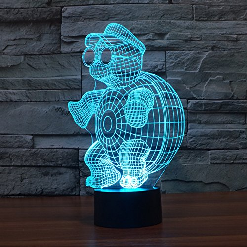 XUIHSA Night Lights for Kids - 3D Night Lamps 7 Colors Changeable nightlight with Timer Best Birthday Gifts for Boys Girls Baby Sunglasses Turtle